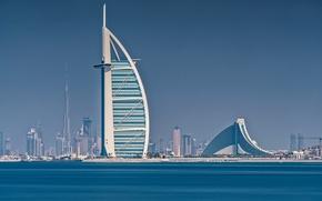 Обои Бурдж Халифа, дома, Бурдж аль-Араб, Дубай, отель, море, ОАЭ, парус