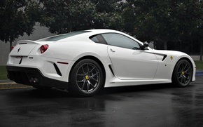 Картинка белый, деревья, Ferrari, white, феррари, 599, tree, gto, back