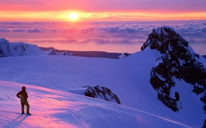 Обои облака, горы, Закат