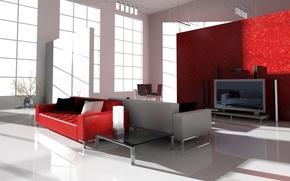 Картинка диван, телевизор, окно, столик, гостиная, студия
