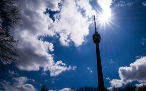 Картинка Clouds, Sun, Germany, Spring, Sunshine, Stuttgart, Fernsehturm, TV Tower
