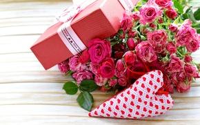 Картинка flowers, коробка, подарок, Valentine's Day, gift, розы, romantic, pink, бант, roses, love, heart