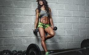 Картинка wall, pose, female, fitness, bodybuilder