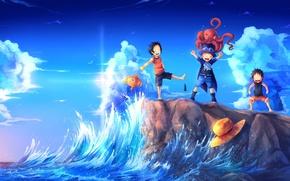 Картинка море, волны, берег, рыбка, шляпа, арт, осьминог, monkey d luffy, one piece, веселье, portgas d …
