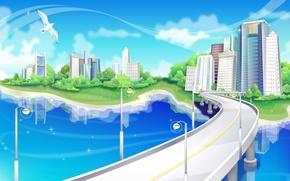 Картинка дорога, мост, Вектор, чайка