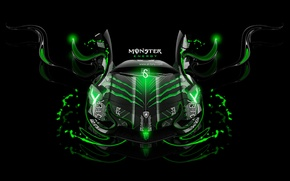 Обои lamborghini, aventador, monster energy, fantasy, neon, green