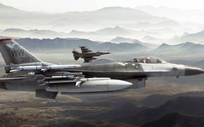 Картинка арт, F-16, ВВС США, General Dynamics, roen911, fighting falcons