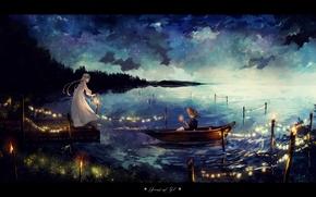 Обои шляпа, гирлянда, лодка, небо, арт, фонарь, парень, аниме, озеро, девушка, ночь, canarinu, звезды, облака