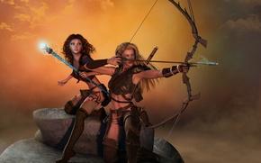 Обои лучница, амазонки, маг