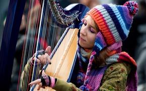 Картинка девушка, музыка, арфа, note di colore