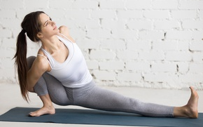 Обои pose, workout, yoga, blonde