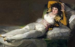 Картинка кровать, картина, жанровая, Франсиско Гойя, Одетая Маха