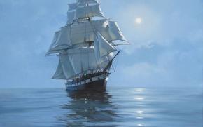 Картинка море, картина, корабль, James Brereton, живопись, парусник