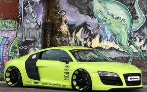 Картинка фон, стена, Audi, тюнинг, Ауди, зелёный, суперкар, графити, диски, tuning, передок, V10, В10, XXX Performance