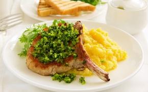 Картинка зелень, мясо, meat, greens, второе блюдо, пюре, mashed potatoes, the second course