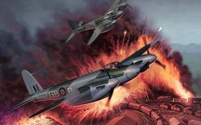 Картинка война, атака, рисунок, поезда, самолёты, Attack, Mosquitos