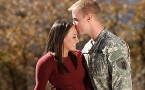 Обои love, soldier, kiss