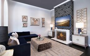 Картинка стиль, фото, диван, вилла, интерьер, телевизор, светильник, камин, роскошь, Design, гостиная, luxury, Interior, Living