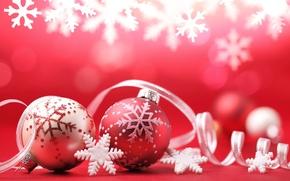 Картинка шарики, украшения, снежинки, праздник, шары, Новый Год, Рождество