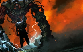 Обои ток, Gambitious Digital, Hard Reset, Redux, дым, Flying Wild Hog, монстр, мечь, мужчина, тварь, металл, ...
