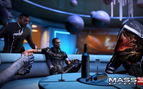 "Картинка Шепард, Mass Effect 3, Урднот Рекс, DLC ""Citadel"", Лиара Т'Сони, Выпивка, Джеймс Вега"