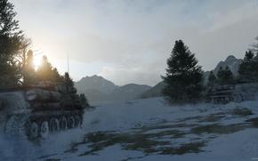 Картинка лес, снег, арт, танк, су-100, Советский Танк, War thunder, hibikirus
