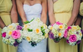 Картинка цветы, платье, невеста, свадебные, букеты, подружки