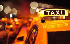 Картинка крыша, машина, авто, макро, город, огни, надпись, табличка, вечер, размытость, такси, разноцветные, taxi, боке, wallpaper.