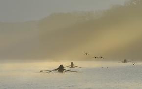 Обои туман, утро, лодки, река