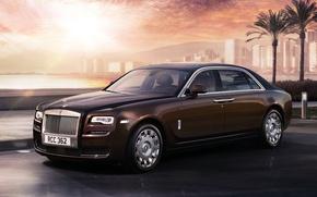 Картинка пальмы, Rolls Royce, Ghost