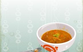 Обои суп, ложка, тарелка