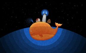 Обои маяк, рисунок, кит