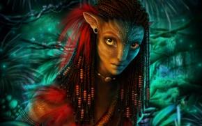 Картинка девушка, рендеринг, портрет, существо, косички, Аватар, Нейтири