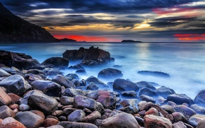 Картинка море, закат, камни, берег, Coast, sunset, stones, Sea