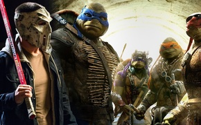 Картинка cinema, Raphael, Leonardo, Donatello, movie, Teenage Mutant Ninja Turtles, Michelangelo, bat, Rocksteady, Casey Jones, animal, …