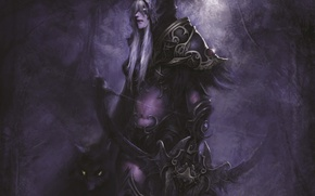 Картинка девушка, лук, лучница, арт, зверь, WoW, World of Warcraft, эльфийка, Sylvanas Windrunner, Hearthstone, Сильвана Ветрокрылая, …