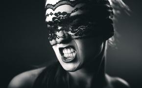 Картинка девушка, повязка, крик, эмоция