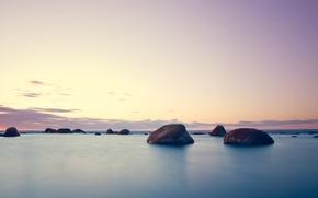 Обои Закат, Море, Камни, Небо