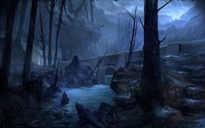 Картинка деревья, горы, ночь, мост, река, камни, скалы, арт