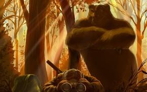 Картинка лес, свет, медведь, бинокль, охотник, взглят