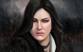 Обои взгляд, чародейка, Yennefer of Vengerberg, Witcher 3: Wild Hunt, Йеннефэр из Венгерберга, art, фиалковые, Йеннефэр, ...
