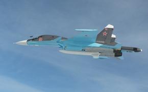 Обои полет, сухой, су-34, фронтовой бомбардировщик, ввс россии