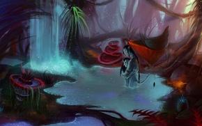 Картинка лес, вода, любовь, водопад, арт, аватар, двое, avatar, пандора