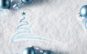Обои winter, snow, merry, christmas, decoration, balls, рождество