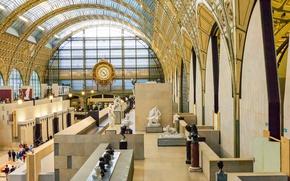 Обои Франция, Париж, часы, экспонаты, музей Орсе