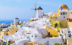 Картинка summer, white, sea, ocean, houses, flag, architecture, cityscape, Santorini, Greece, sunny