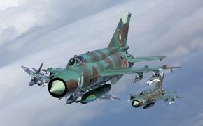 Картинка полет, истребители, МиГ-29, МиГ-21