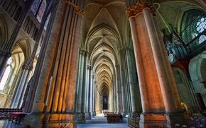 Картинка Франция, собор, колонна, неф, Реймс