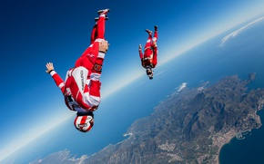 Обои flying, freestyle, training, skydiving, skydivers, headdown, extreme sport, freefly, Will Penny, freeflying, Yohann Aby