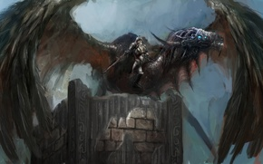 Картинка оружие, крылья, арт, шлем, воин, доспехи, дракон, меч, броня, фантастика